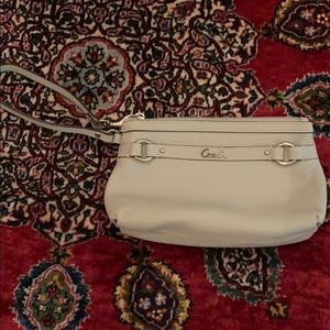 Light gray pebbled leather coach wristlet